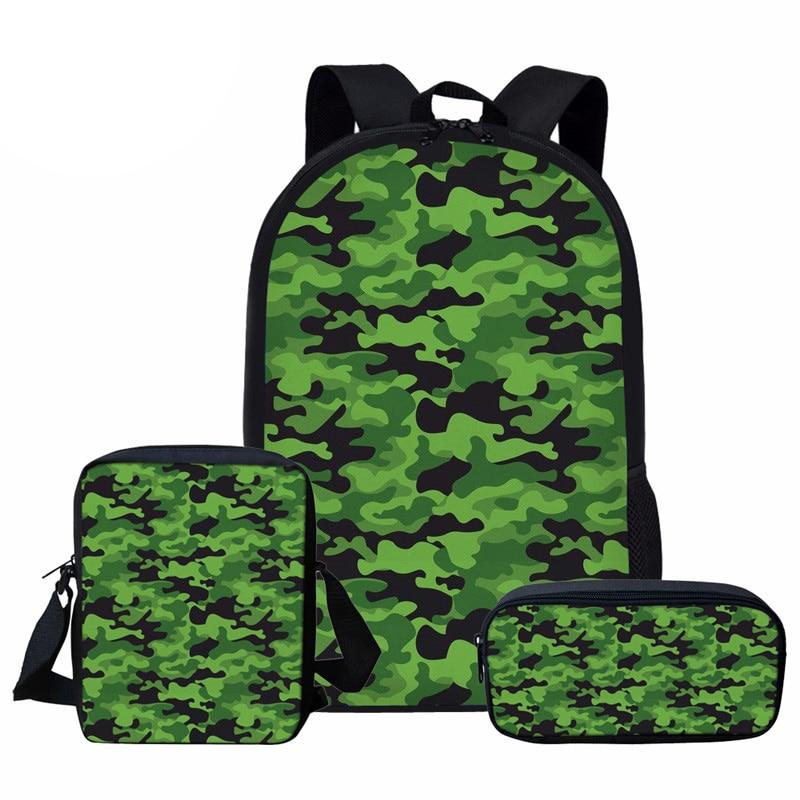 NOISYDESIGNS Green Book Bags Camouflage Prints School Bag Sets for Boys Girls Orthopedic Children Backpack Kids Bag 1 6 Grade|School Bags| |  - title=