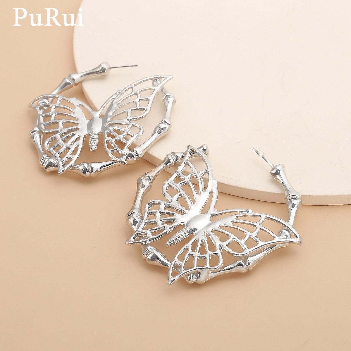 Серьги-кольца PuRui в виде бабочки женские, большие корейские готические Винтажные Украшения из бамбука, бижутерия в винтажном стиле