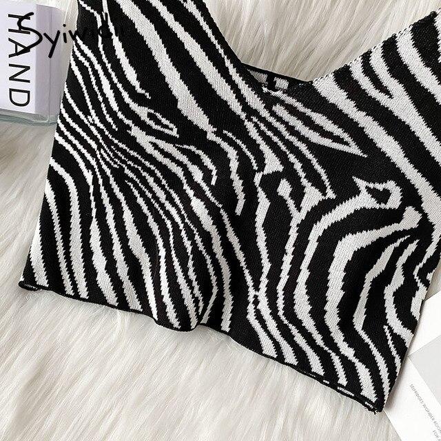 Syiwidii Zebra Pattern Crop Top for Women Knitted Striped Short Tank Tops Cute Girls 2021 Summer Korean Tank Top Black Clothing 6