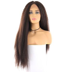 Image 2 - ライトブラウンスイスレースフロントかつら黒人女性のためのX TRESS 26 インチロング変態ストレートレースフロント人工毛かつら中部