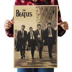 [A14] Beatles Nostalgia Retro Kraftpaper Poster Indoor Bar Cafe Decorative Painting