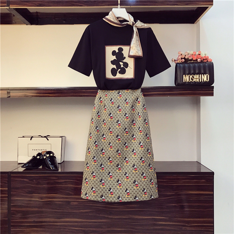 2020 New Summer Fashion Students Suits Bow O Neck Cartoon Short Sleeve T-shirts + Sim Waist Casual Skirts All-match Women Sets