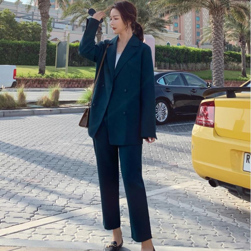 High Quality Women's Pants Suit Fashion Suit Set Autumn New Solid Color Double-breasted Suit Blazer Slim Trousers Two-piece 2019