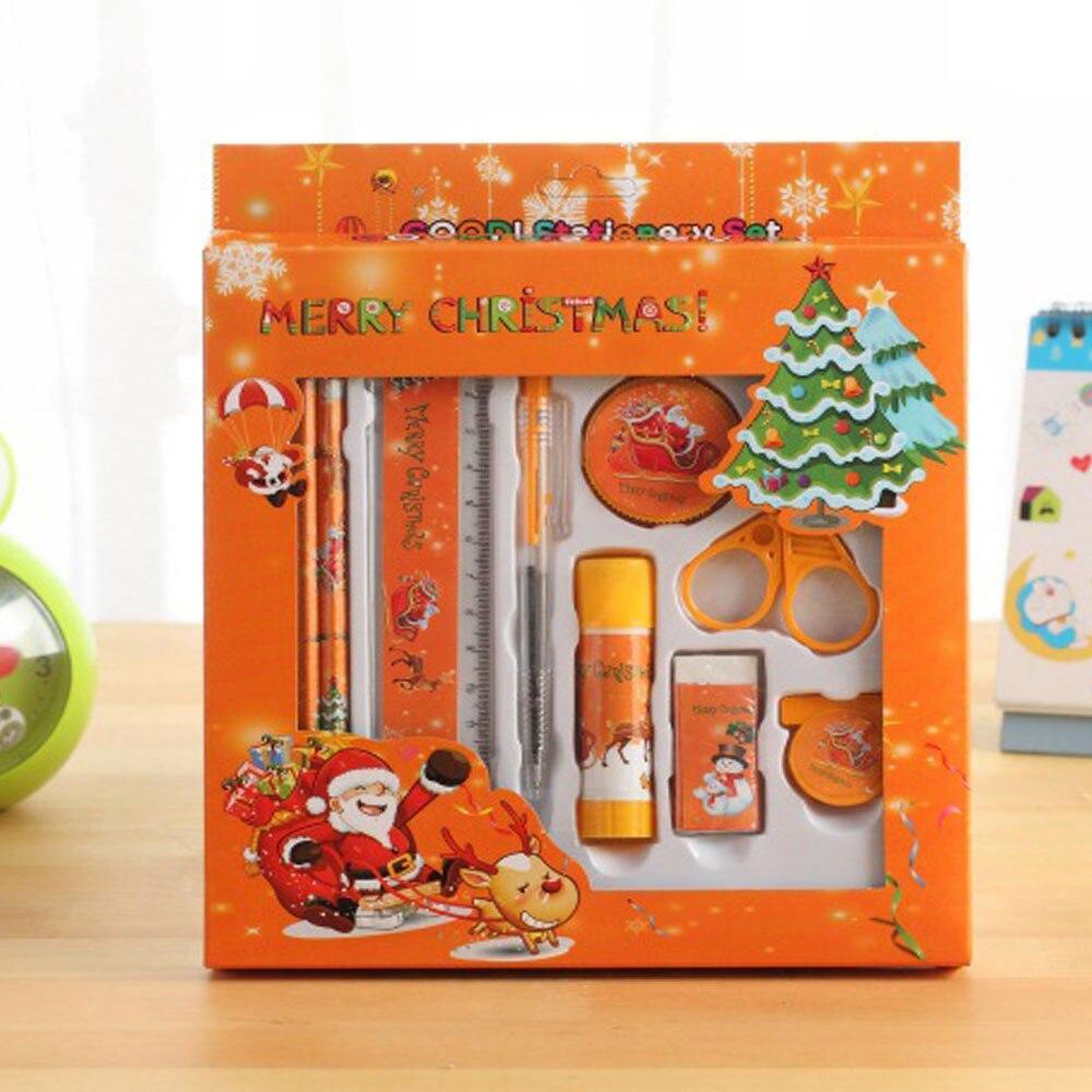 12Pcs/Set Pencil Sharpener Ruler Random Color School Student Creative Ball Pen Stationery Set Christmas Gift For Kids