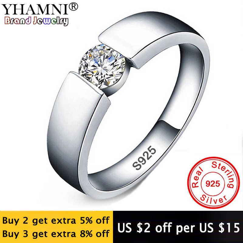 YHAMNI 100% Original Solid 925 แหวนเงินชุด 6mm 1CT CZ Diamant แหวนหมั้นแหวนเครื่องประดับแหวนผู้หญิงและชาย RD10