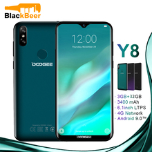 DOOGEE Y8 Android 9.0 FDD LTE 6.1 inç 19:9 Waterdrop Smartphone MTK6739 cep telefonu 3GB 32GB 3400mAh çift SIM 8.0MP cep telefonu