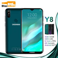 DOOGEE Y8 Android 9.0 FDD LTE 6.1inch 19:9 Waterdrop Smartphone MTK6739 Cellphone 3GB 32GB 3400mAh Dual SIM 8.0MP Mobile Phone