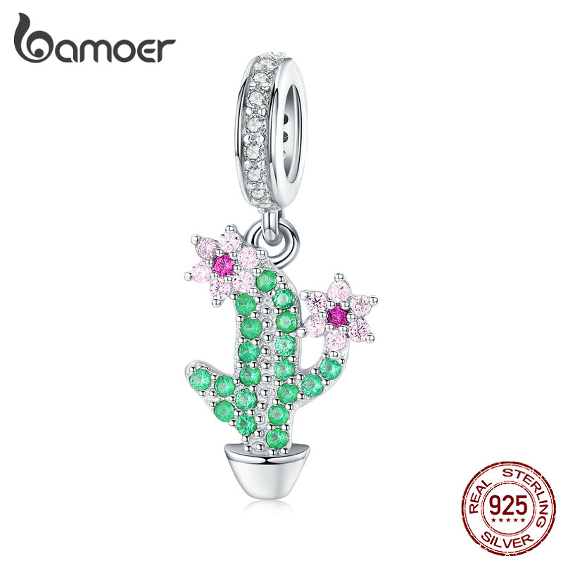 Bamoer Garden Cactus Pendant Charm For Women Original Silver Bracelet 3mm Genuine 925 Sterling Silver Fine Jewelry BSC121