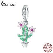 Bamoer Garten Kaktus Anhänger Charme für Frauen Original Silber Armband 3mm Echtes 925 Sterling Silber Edlen Schmuck BSC121