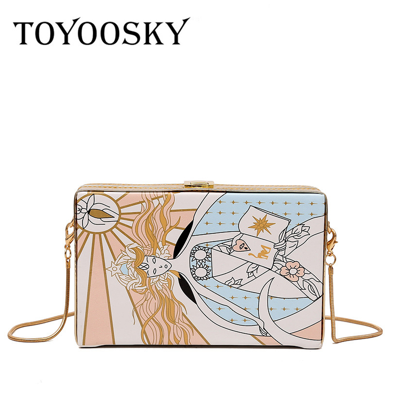 TOYOOSKY 2019 New Abstract Clutch Women Messenger Bag Fashion Box Chain Shoulder Bag High Quality PU Leather Lady Crossbody Bag
