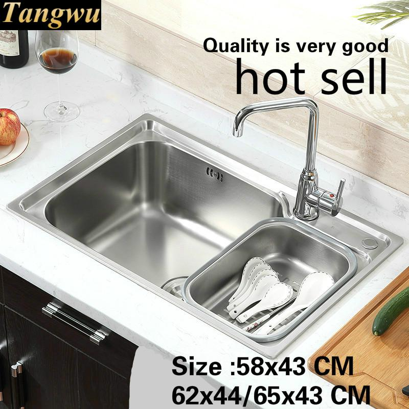 Free Shipping Standard Kitchen Single Trough Sink Wash The Dishes Food-grade Stainless Steel Hot Sell 580x430/620x440/650x430 MM