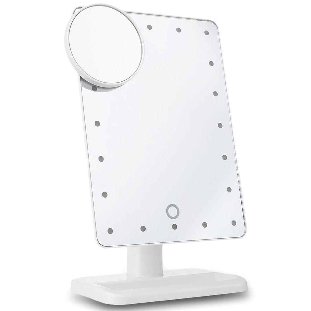 Portátil led sensor de toque espelho com