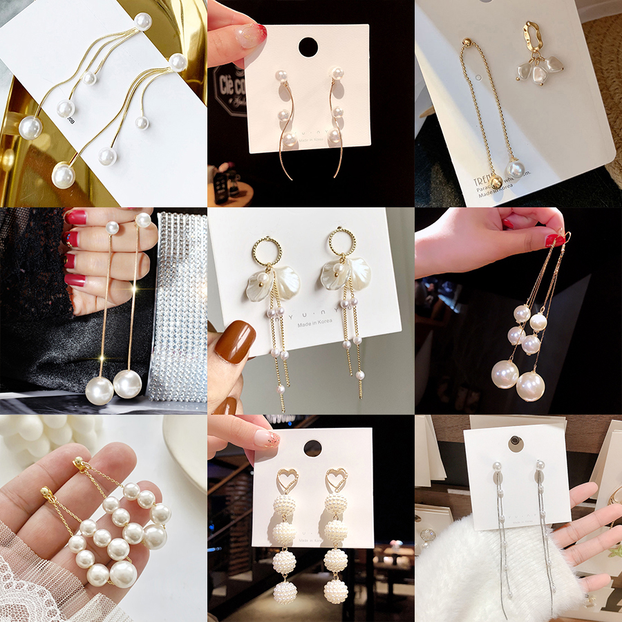 Crystal Pearl Tassel Earrings Female Long Paragraph Geometric Pendant Earrings Wedding Fashion Jewelry Jewelry Gifts