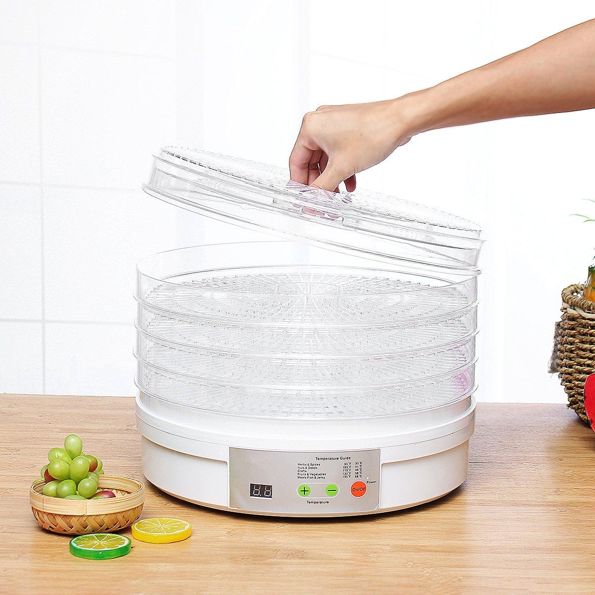 110/220V Food Grade AS Digital Food Dehydrator Fruit Vegetable Herb Meat Drying Machine Food Dryer Dried Fruit Machine 5 Trays
