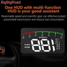 BigBigRoad Car Hud Display Overspeed Warning Windshield Projector Alarm System For Audi e-tron GT Quattro Q2L Q5L A1 A3 A4 A5 A6 цена в Москве и Питере
