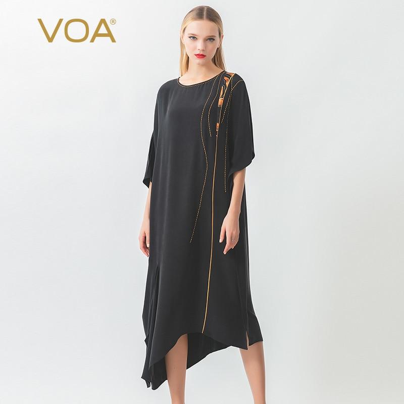 Тяжелое сатиновое платье VOA30 мм с золотыми арочными иглами и воротником лодочкой, с рукавами на плечах, ассиметричное шелковое платье A10722