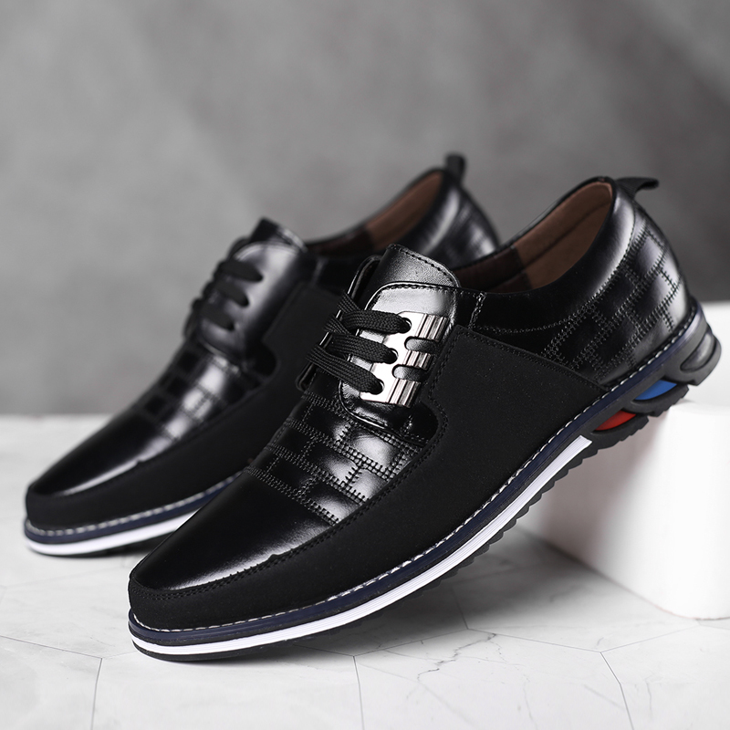 High Quality Big Size Casual Shoes Men Fashion Blue Business Men Casual Shoes Hot Sale Spring Breathable Casual Men Shoes Black