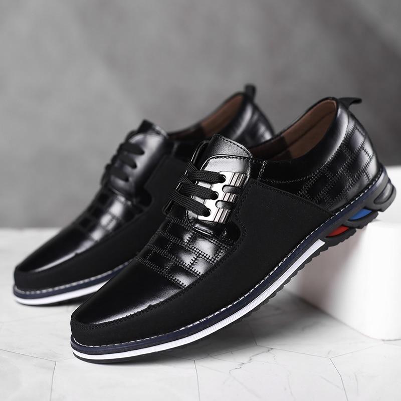 High Quality Big Size Casual Shoes Men Fashion Blue Business Men Casual Shoes Hot Sale Spring Breathable Casual Men Shoes Black