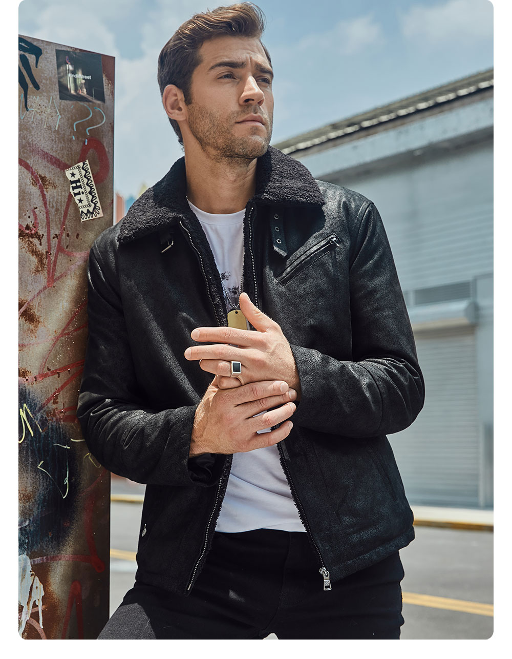 H3e3ee552f9c04244bb9b2eb7d83e479cF FLAVOR New Men's Genuine Leather Motorcycle Jacket Pigskin with Faux Shearling Real Leather Jacket Bomber Coat Men