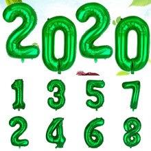 Ballons numériques en aluminium vert 32 pouces, nouvelle collection, décoration de fête Safari pour anniversaire d'enfants, fête en forêt, fête dans la Jungle, vente en gros