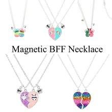 Magnético Colar BFF 2 Pçs/set Heart-shaped Melhores Amigos Colares Casais Cadeia Amizade Presentes para Mulheres Da Menina