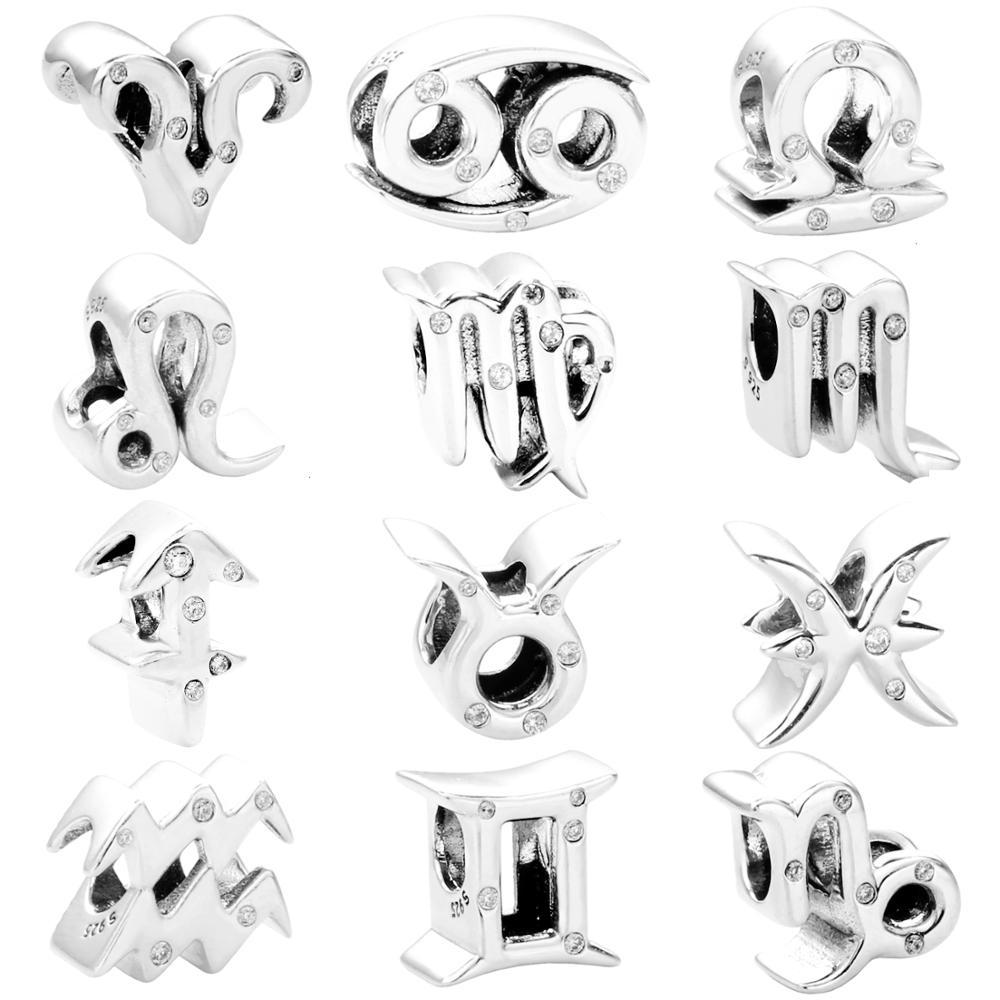 Moonmory Christmas Gift Zodiac Charms 925 Sterling Silver Gemini Leo Virgo Charm Bead Fit For Brand Bracelet DIY Jewelry Marking