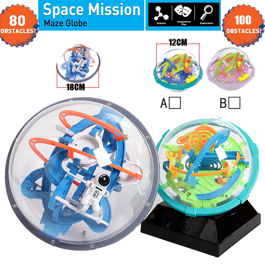 New Magic 3D Space Mission Maze Globe Puzzle Intellect Ball  80-100 Obstacles  Educational Interactive Brain Teaser For Children