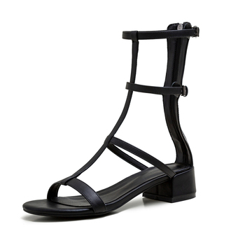 2020 New Women Summer Rome style High Quality Square Thick Heels Genuine Leather Shoes Woman Sandals Open Toe Ladies Slippers