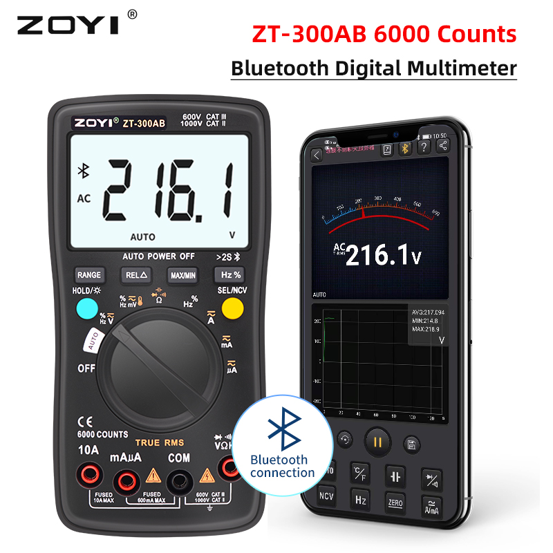 ZOYI ZT-300AB Bluetooth Digital Multimeter 6000 Counts Professional Multimetro Auto Range AC/DC Current Voltage True RMS Tester