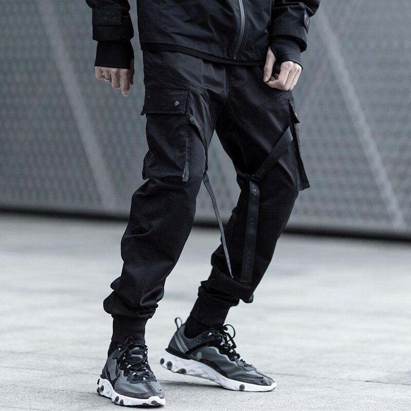 Reflective Techwear Hi Street Paratroopers Men's Sports Jogger Pants Black Grunge
