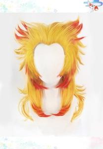 Image 2 - Demon Slayer: Kimetsu No Yaiba Rengoku Kyoujurou Cosplay Wigs Hair Wig + Free Wig Cap