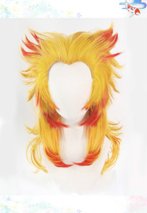 Image 2 - Демон убийца: Kimetsu No Yaiba Rengoku Kyoujurou Косплей парики волос парик + Бесплатный парик