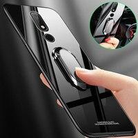Per Nokia 6.1 Più Il Caso di X6 7.1x7 8.1 Vetro Temperato Anello Magnetico Cassa Del Telefono Del Supporto per NOKIA 7 7.1 più Della Copertura Posteriore Capa