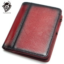 Brush Color RFID Blocking Mens Imported Top Layer Leather Brushed Wallet Handmade Retro Pure Coin Purse