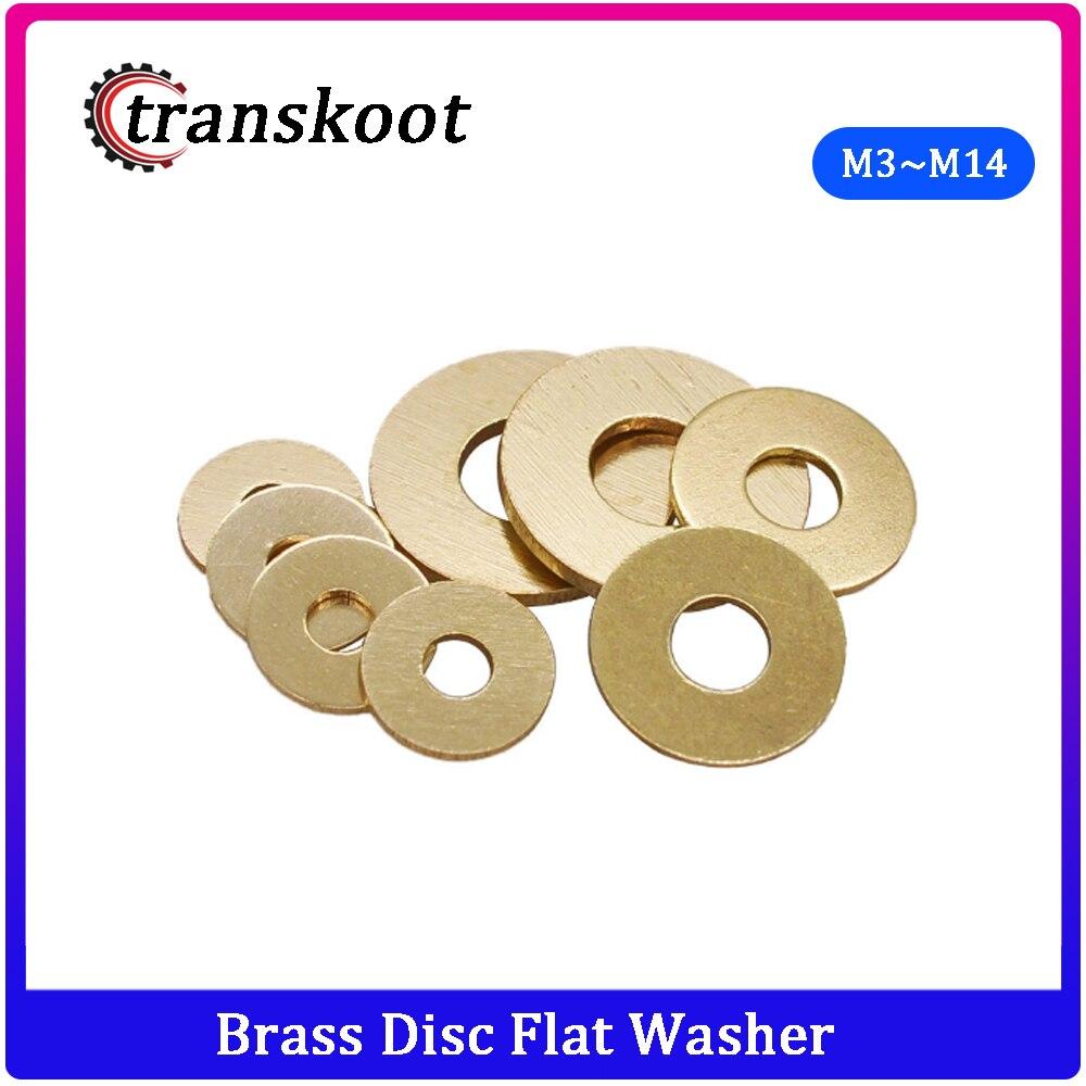 50pcs DIN125 ISO7089 M3 M4 M5 M6 M8 M10 M12 M14 Meson Pad Copper Sheet Metal Collar Brass Disc Flat Washer Gasket Ring