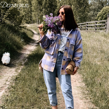 Spring Fashion oversize coat women pladi jacket vintage long sleeve jacket and coat ladies Korean coat outerwear 2020 streetwear цена 2017