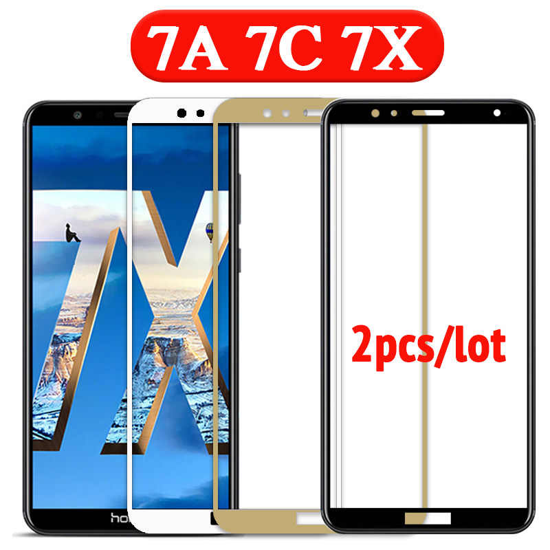 2PCS/lot protective glass for honor 7c pro screen protector for huawei 7x tempered glass full cover 7 a c x honor7a honor7c film