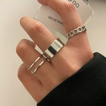 Modyle Boho Gold Silver Color Chain Rings Set Wedding Resin Ring For Women Punk Geoemtric Multilayer Rings Jewelry