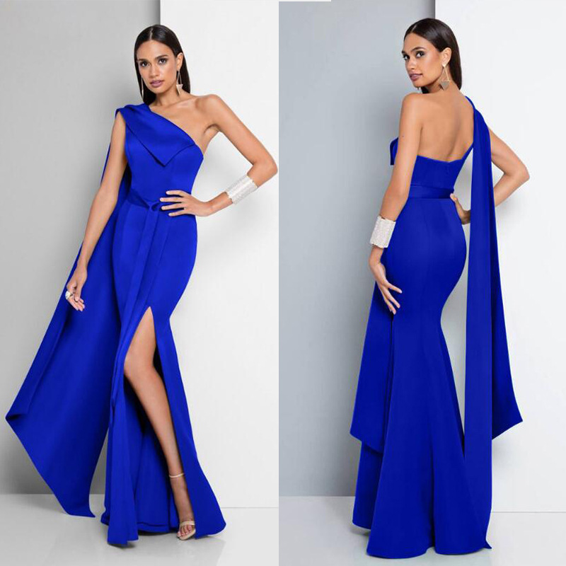 AliExpress Hot Selling Europe And America 2019 New Style Sexy One Shoulder Sleeve Trimmed Collar And Formal Dress Long Skirts