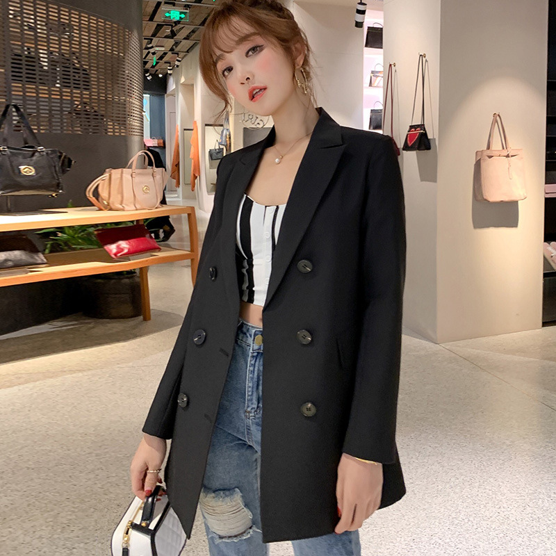 Image 2 - Women Casual Blazer Jacket New Fashion 2019 Spring Autumn Double Breasted Office Lady Long Blazers Coats Female Suit S011-in Blazers from Women's Clothing
