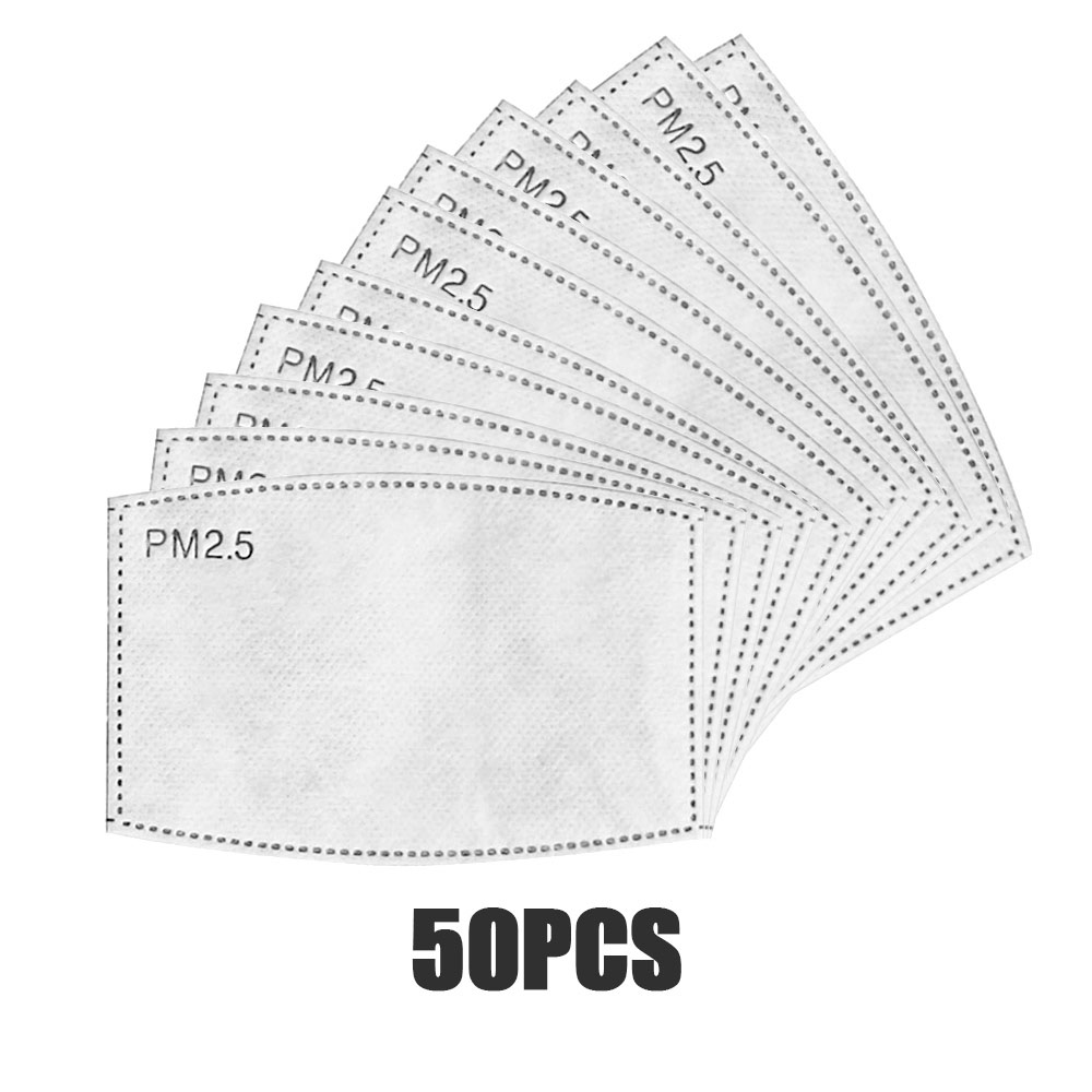 50pcs/Lot PM2.5 Filter Paper 5 Layer Mouth Mask Anti Dust Mask Activated Carbon Filter Paper Health Care