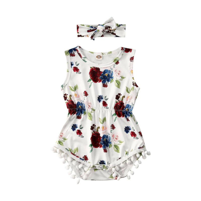 Newborn Baby Girls Floral Romper Jumpsuit Sunsuit+Headband Outfits Clothes Summer Sleeveless Casual Baby Girl Clothing
