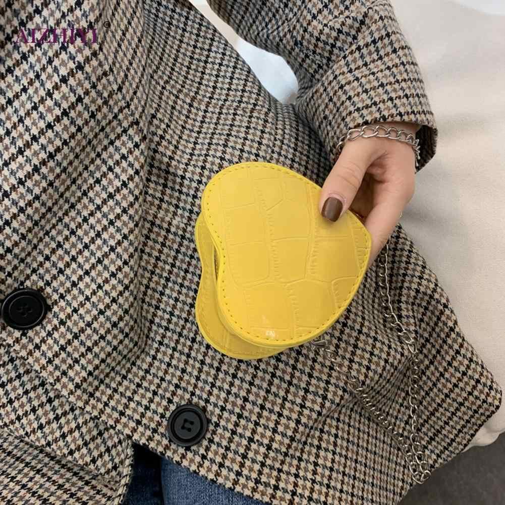 Dames Casual Mini Liefde Hartvormige Crossbody Handtassen Vrouwen Kids Lederen Effen Kleur Kleine Keten Schoudertassen