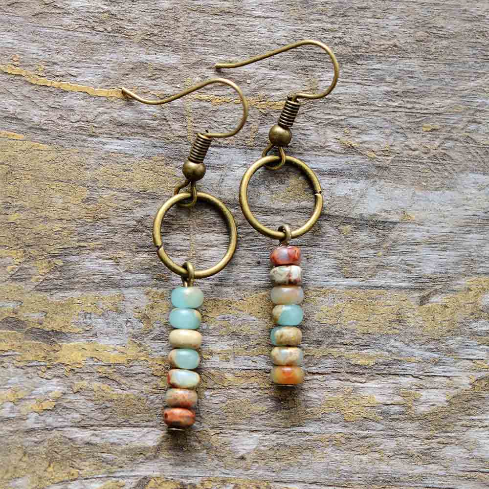 Womens Earrings Vintage Natural Stone Dangle Earrings Designer Bohemian Earrings European Ethnic Jewelry Dropshipping
