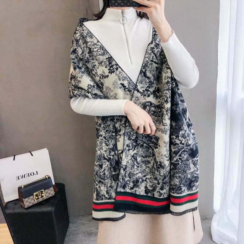 Autumn And Winter New Warm Scarf Female Decorative Collar Imitation Cashmere Blue And White Porcelain Thick Long Tassel Shawl
