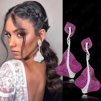 missvikki 75mm Luxury Big leaf Long Drop Dangle Earrings Full Mirco Paved Cubic Zircon Naija Bridal Wedding Earring Jewelry