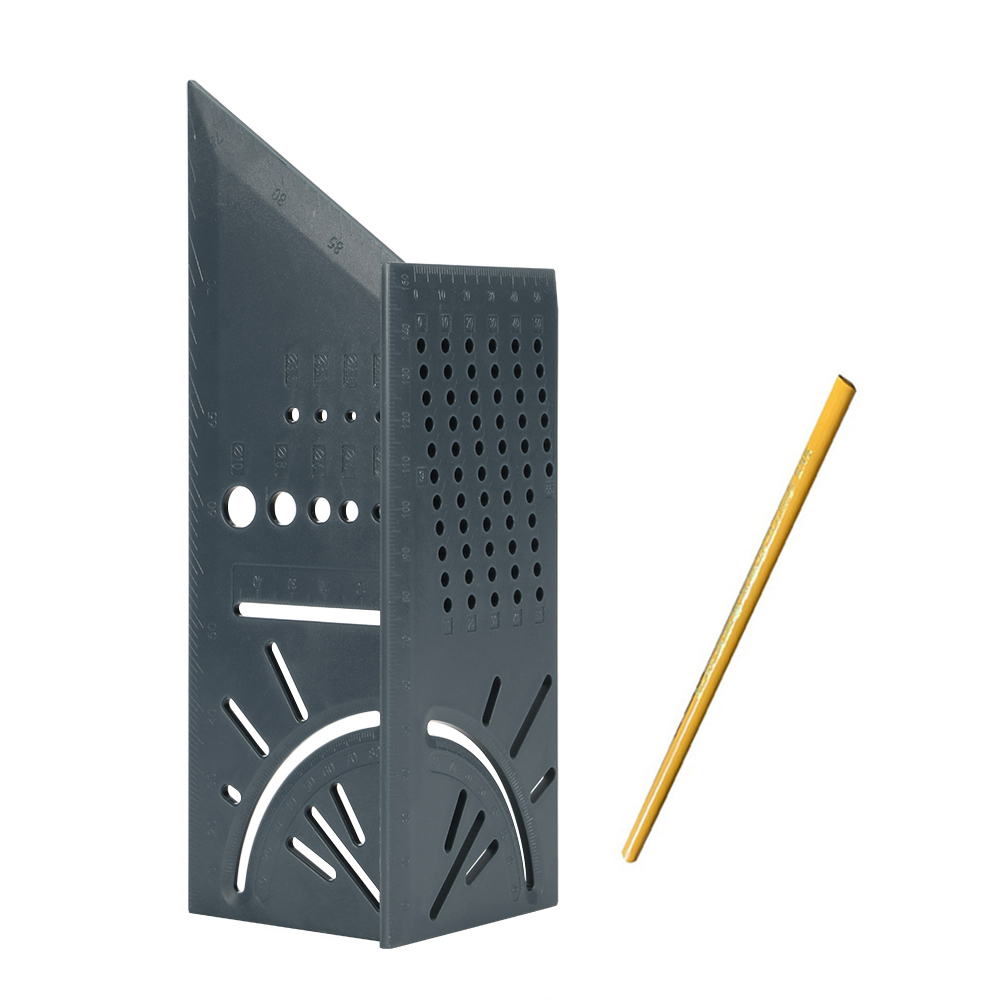 Деревообрабатывающий Scribe Mark Line Gauge Т-образная линейка квадратный макет Miter 90 градусов измерительный прибор плотник - Цвет: Grey with pencil