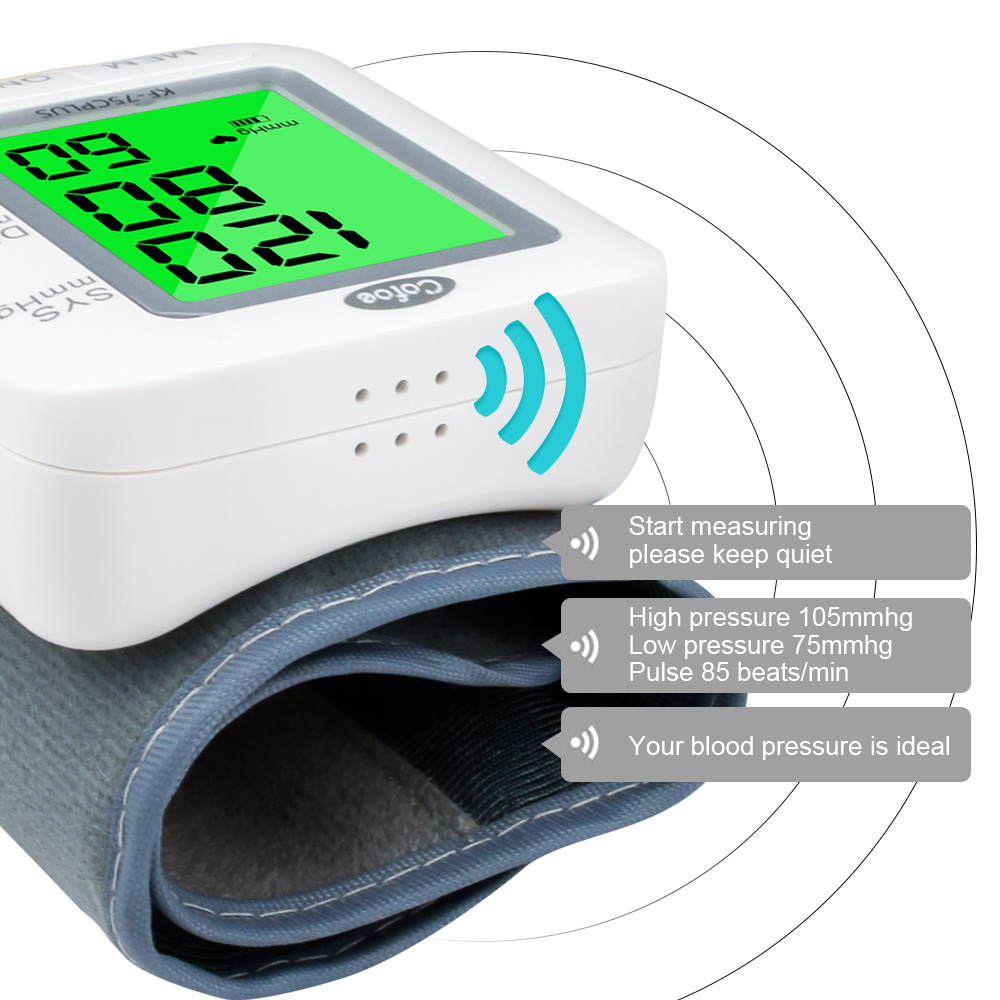 Cofoe Wrist Blood Pressure Monitor upgrade automatic sphygmometer voice three-color backlight heart rate and pulse health care 4