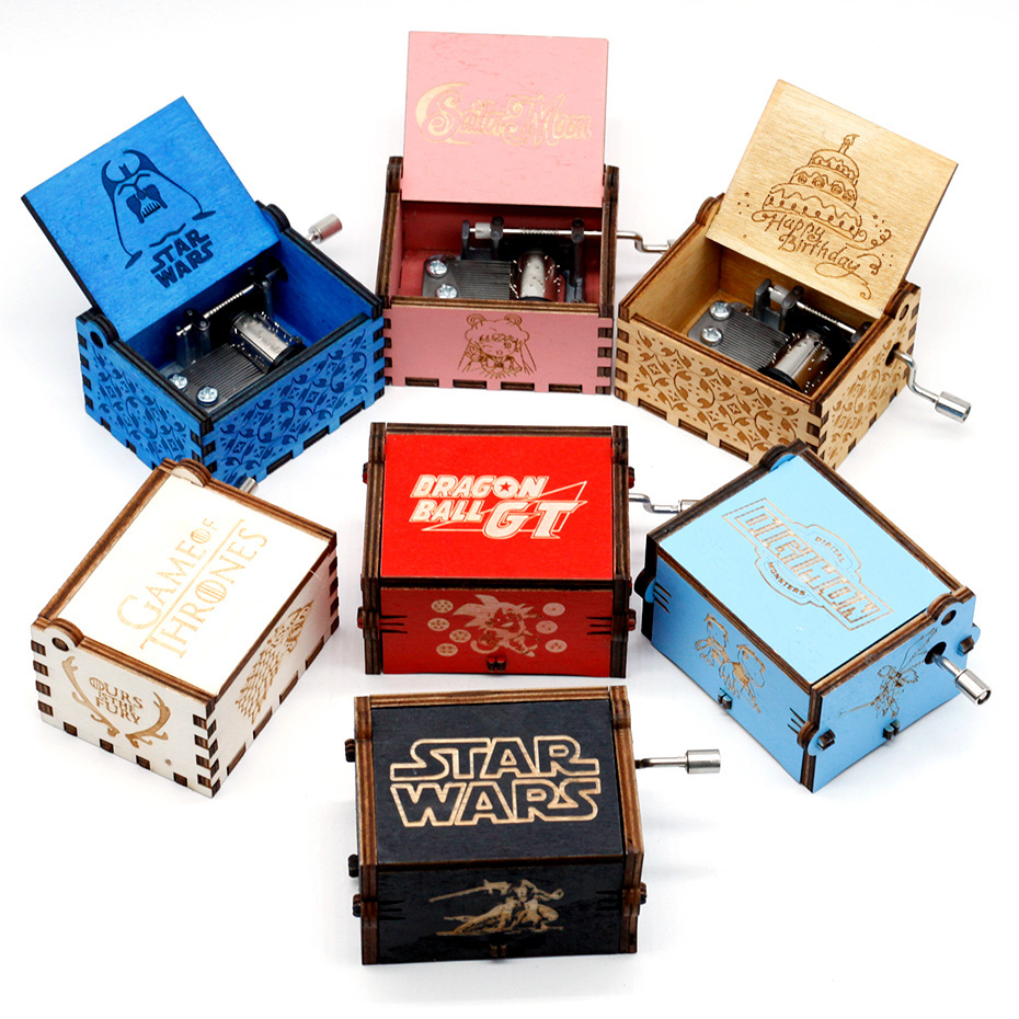 Neue La Vie En Rose Digimon Holz Musik Box Coole Geschenke Geburtstag Kinder Party Star Wars Game Of Thrones Hand gekrö pft Holz image
