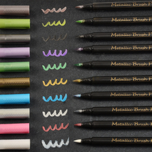 STA10Colores Metallic Marker Permanent Water drawing marker Brush Pen For Drawing DIY Gift Card Ceramic Glass Paper Color Marker
